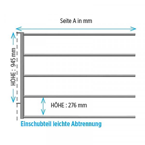 """Einschubteil Abtrennung leicht 1,54 m für 1,1/4"""" Grundteil"""