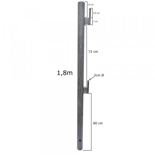 """Rohrpfosten 2½""""  1800 mm mit Gehänge"""