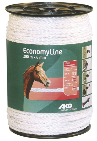 Economy Line Weidezaunseil weiß 200 Meter