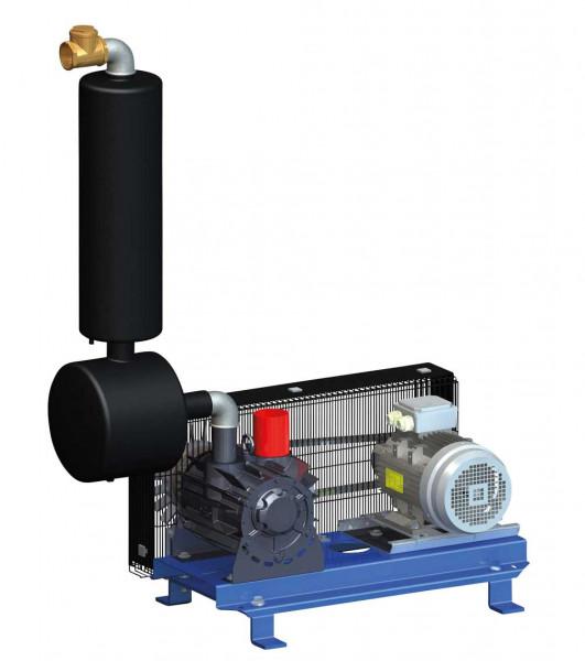 Vakuumpumpe GPV 1500 auf Konsole komplet, mit Ölabscheider und Öler für Melkanlagen